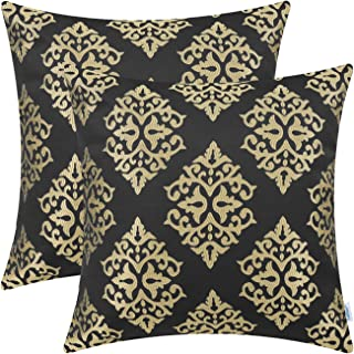 CaliTime Pack of 2 Soft Jacquard Throw Pillow Covers Cases for Couch Sofa Home Decoration Vintage Diamond Shape Damask Floral 18 X 18 Inches Black Gold