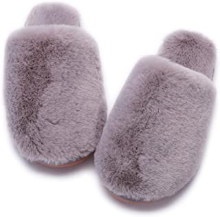 Women's Fuzzy Fluffy Furry Fur Slippers Flip Flop Winter Warm Cozy House Memory Foam Sandals Slides Soft Flat Comfy Anti-S...