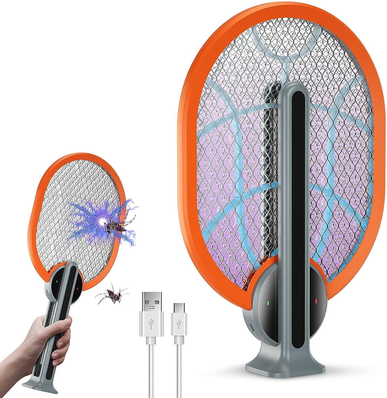 EaspoBE Raqueta Matamoscas Eléctrico Plegable, Trampa de Insectos Ecológica, Repelente Avispas, Eficaz para Insectos Voladores, Interiores y Jardines, Carga USB (Naranja)