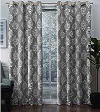 Exclusive Home Medallion Blackout Grommet Top Curtain Panel Pair, 52x96, Silver