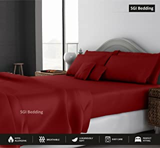 SGI bedding Queen Sheets Luxury Soft 100% Egyptian Cotton - Sheet Set for Queen Mattress Burgundy Solid 600 Thread Count Deep Pocket