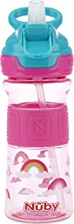 Nuby Thirsty Kids Push Button Flip-it Soft Spout on The Go Water Bottle with Easy Grip Band, Pink Rainbows, 12 Ounce