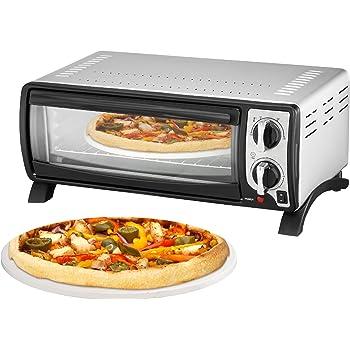 Team Kalorik Four à Pizza 13 Litres avec Plateau, Grille et Pierre à Pizza (100-250°C), 1400 W, Métal/Verre, Argenté, TKG MBO 1000