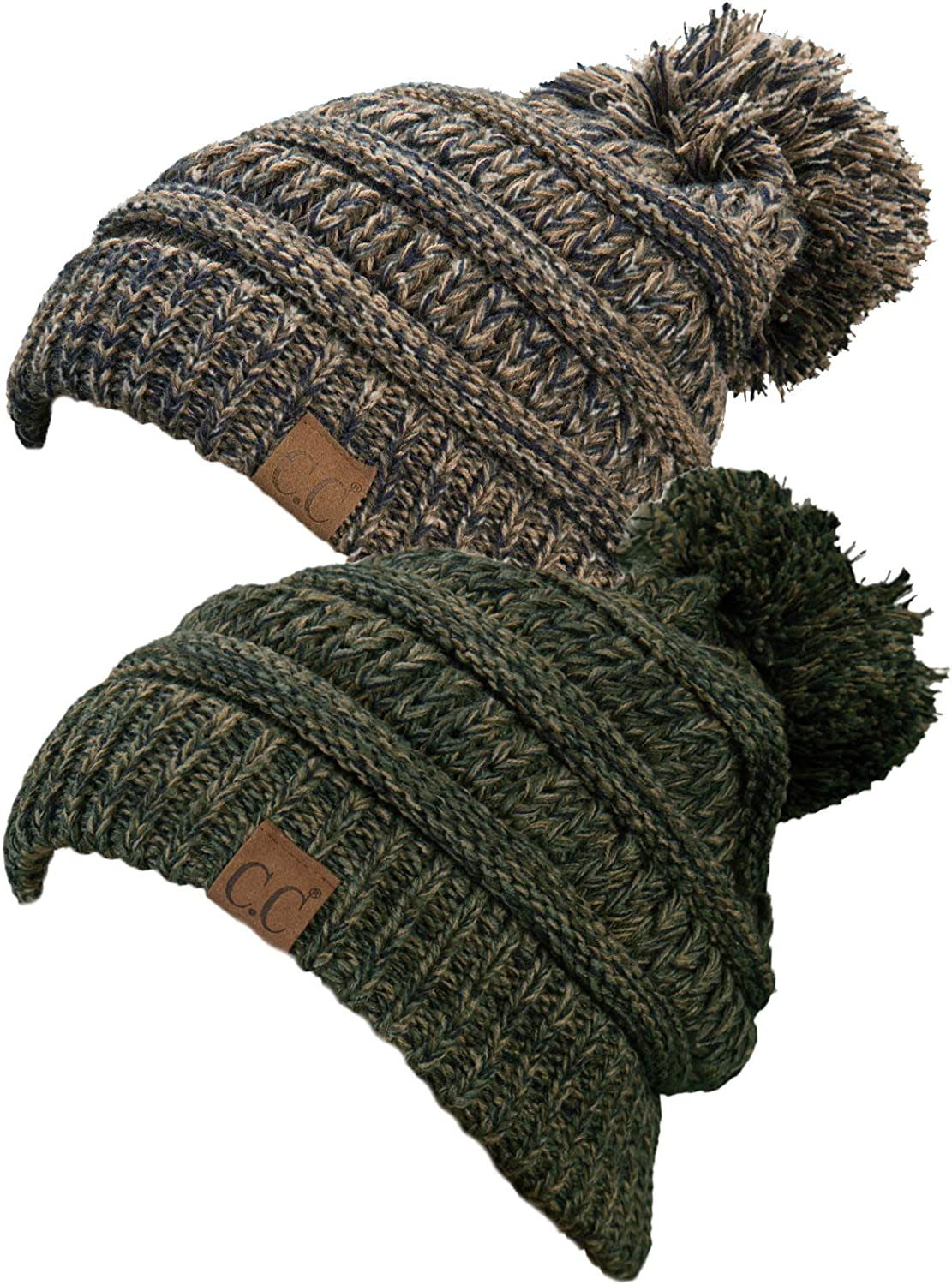Funky Junque C.C. Pompom Slouchy Cable Knit Warm Soft Multicolord Pom Beanie Hat