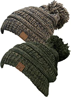 Chunky Marled Cable Knit Warm Soft Multicolored Pom Beanie Hat