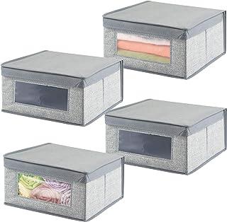 mDesign boite de rangement empilable en fibre synthétique pour vêtements et jouets (lot de 4) – bac de rangement taille mo...