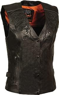 Milwaukee Women's Leather Vest (Black/Black, XXX-Large)