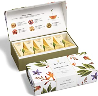 Tea Forte Herbal Retreat Petite Presentation Box Tea Sampler, Assorted Variety Tea Box, 10 Handcrafted Pyramid Tea Infuser...