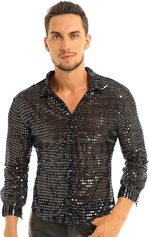 inlzdz Men's Shiny Sequins Dress Shirt Button Sleeve shipfree Long 7 Down Brand Cheap Sale Venue