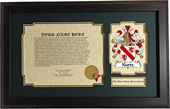 Kurtz - Coat of Arms and Last Name History, 14x22 Inches Matted and Framed