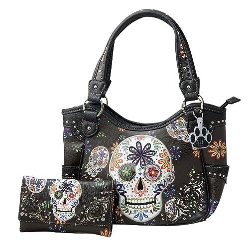 3a607da4c1 HW Collection Western Sugar Skull Flowers Concealed Carry Shoulder Handbag  and Wallet