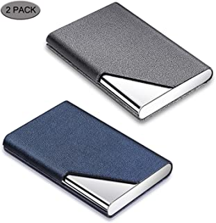 Business Card Holder, DMFLY 2 Pack Business Card Case - Luxury PU Leather & Stainless Steel Metal Business Card Holder Wallet Credit Card Case/Holder for Women and Men, Magnetic Shut Style (DM-GB01)