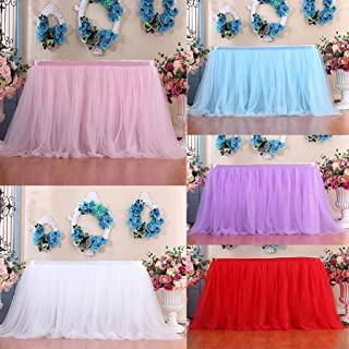 m·kvfa Table Skirt Cover Table Cloth Table Cover for Christmas Party Baby Shower Wedding Birthday Festive Home Decoration (200x100CM, Light Blue)