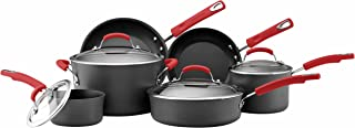 Rachael Ray 82710 Brights Hard Anodized Nonstick Cookware Pots and Pans Set, 10 Piece, Gray with Red Handles