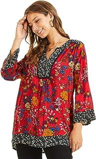 SONJA BETRO Women's Floral Printed Cotton Notch Neck Tunic Top Blouse