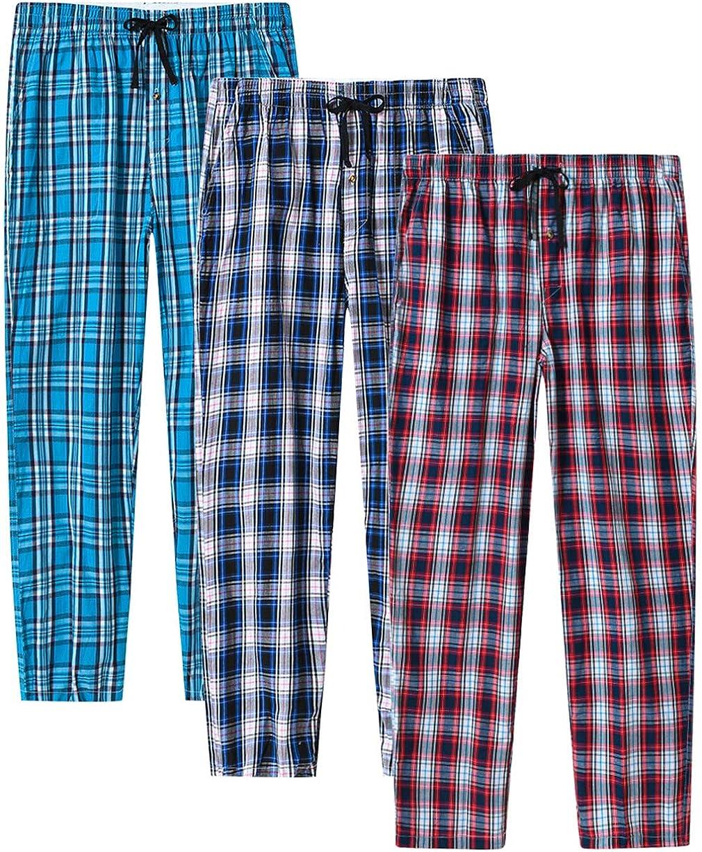 JINSHI Men's Pajama Pants Cotton Arlington Mall Plaid Pan Cheap mail order sales Bottoms Lounge