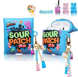 Lupct for Airpod 2/1 Silicone Case, Soft Cartoon Fashion Cute Food Design Air Pods Cover Girls Women Funny Headphone Fun Cool Unique Kawaii Keychain Cases for AirPods 2&1 (Blue Candy Kids Chain)