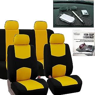 FH Group FB050114 Full Set Flat Cloth Car Seat Covers, Yellow/Black w. FH1002 Non-Slip Dash Grip Pad Mat - Fit Most Car, Truck, SUV, or Van