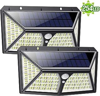 Feob Luz Solar Exterior 254 LED【Calidad Precio 2500mAH Placa Solar】Foco solar con PIR Sensor de Movimiento Inalámbrico Lámpara Solar Iluminación de Seguridad Impermeable Proyector para Jardín,Garaje