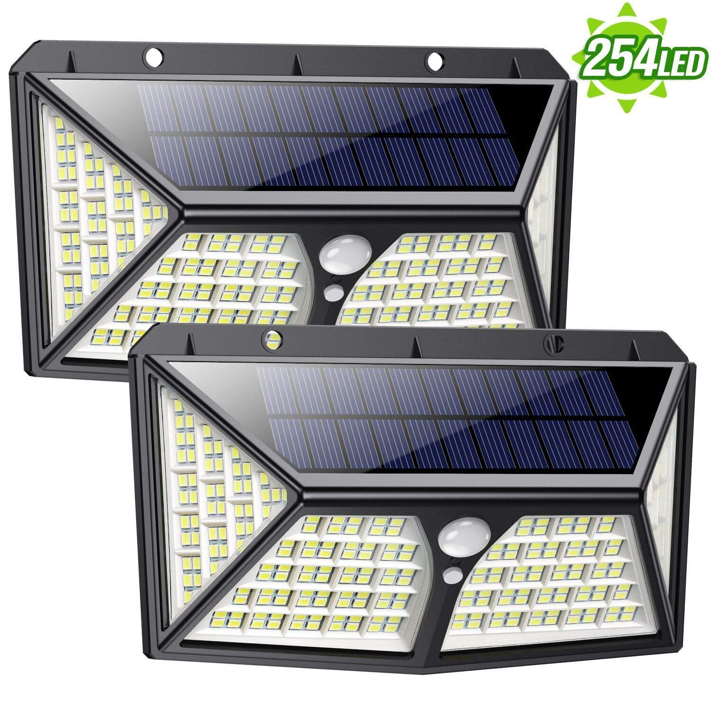 Feob Luz Solar Exterior 254 LED【Calidad Precio 2500mAH Placa Solar】Foco solar con PIR Sensor de Movimiento Inalámbrico Lámpara Solar Iluminación de Seguridad Impermeable Proyector para Jardín,Garaje: Amazon.es: Iluminación
