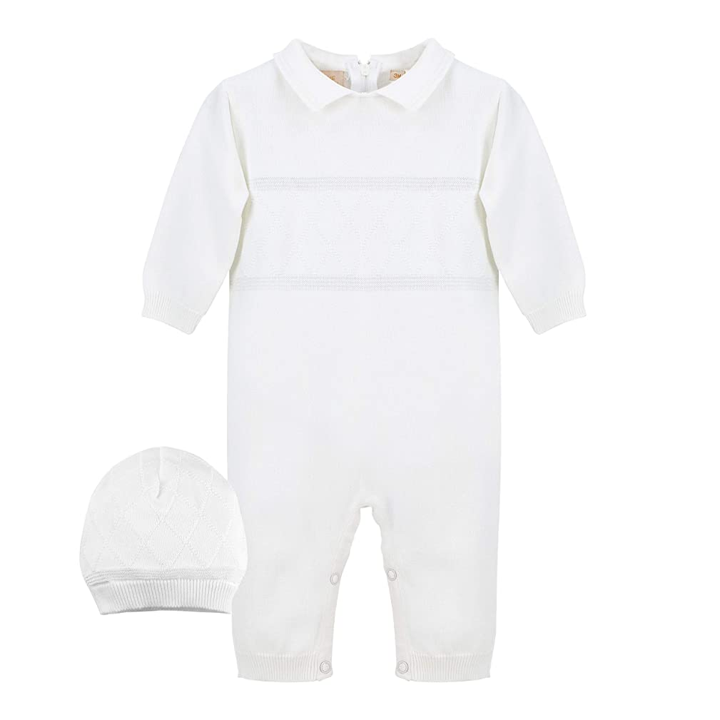 Baby Boys' Christening Coverall with Diamond Stitching - Includes Hat