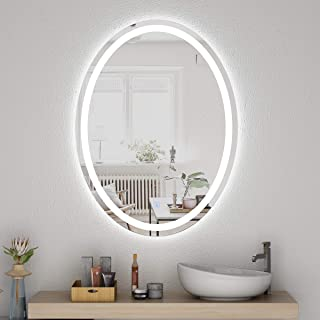 Honyee LED Lighted Bathroom Mirror 24x32 Inch, Wall Mounted Vanity Mirror with Light, Modern Oval Makeup Mirror with Smart Touch Control Dimmer and Waterproof Anti Fog Function