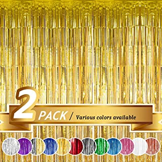 BTSD-home Gold Foil Fringe Curtain, Metallic Photo Booth Tinsel Backdrop Door Curtains for Wedding Birthday and Special Festival Decoration(2 Pack, 6ft x 8ft)