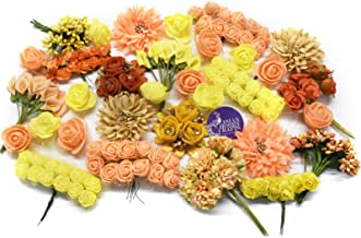 Asian Hobby Crafts Assorted Artificial Flower Box for Home Décor, Craft Projects and Gifting – Contains Variety of Paper, Fabric and Foam Flowers; Theme: Autumn