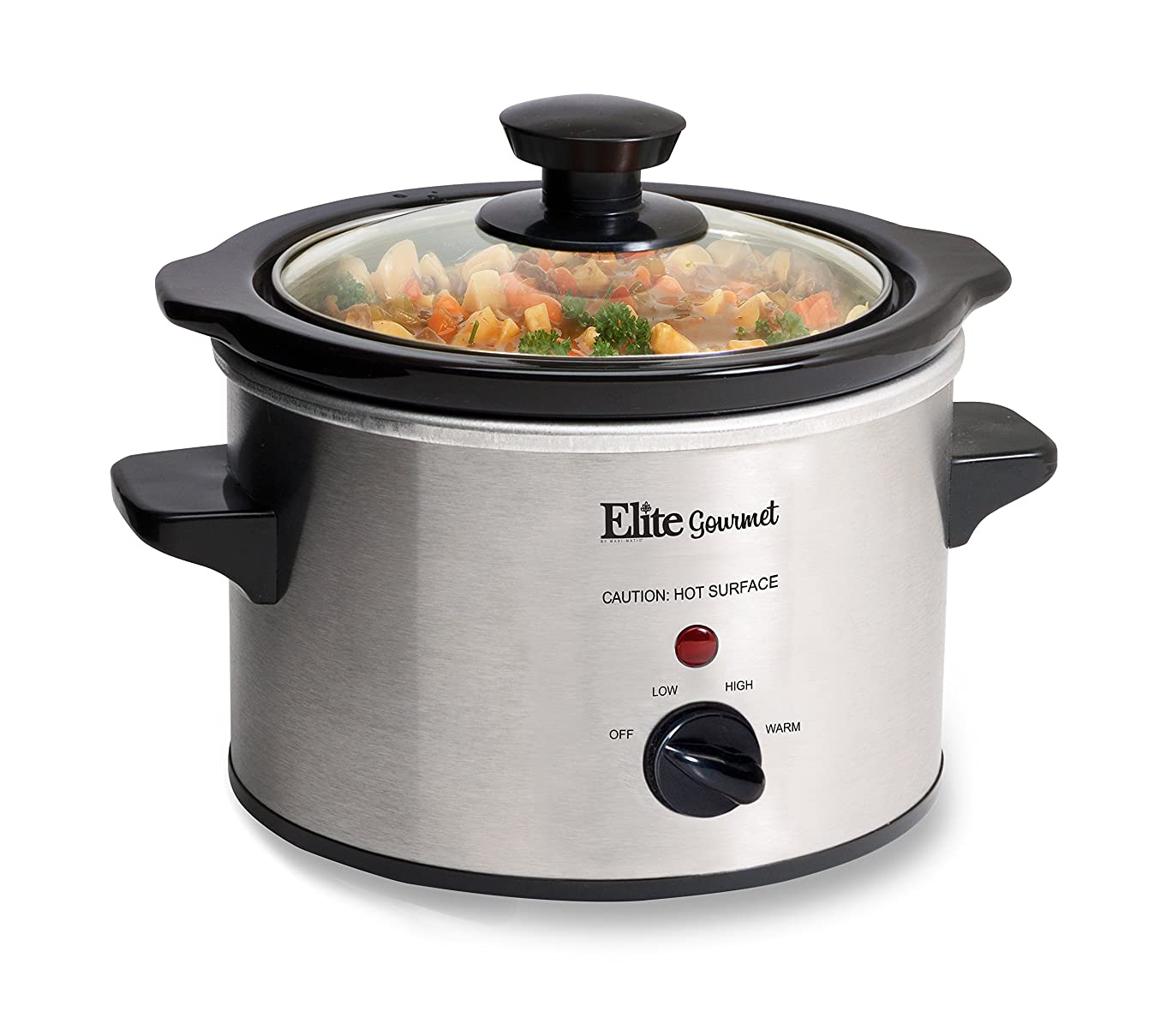 Elite Gourmet MST-250XS Electric Slow Cooker, Adjustable Temp, Entrees, Sauces, Stews & Dips, Dishwasher Glass Lid &?Ceramic Pot, 1.5Qt Capacity, Stainless Steel