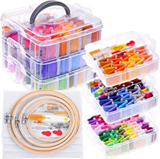 Embroidery Kit for Beginners with Organizer, Shynek Cross Stitch Kits with 162 Colors Embroidery Floss, 4 Embroidery Hoops...