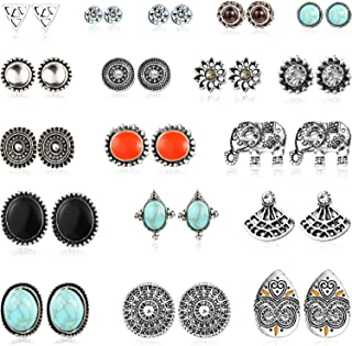 18 Pairs Assorted Boho Stud Earrings Set Vintage Round Beads Earring for Women and Girls