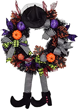 24 Inch Witch Halloween Wreath with Hat Legs Pumpkin Door Wreath, Artificial Maple, Pumpkin Wreath for Halloween Decorations