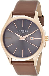 Akribos XXIV Men's Analogue Display Japanese Quartz Watch with Leather Strap