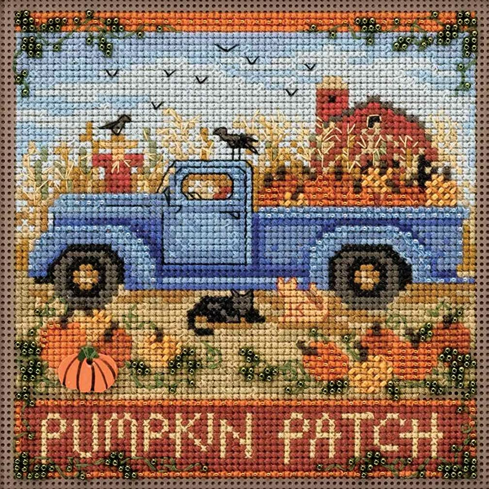 Old Time Harvest Beaded Counted Cross Stitch Kit Mill Hill 2017 Buttons Beads Autumn MH141726