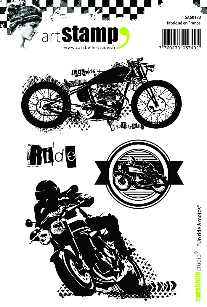 Carabelle Studio A6 Unmounted Stamp Set - Motorcycle Ride
