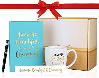 """Inspirational Gift Set - Leather Notebook Journal, Table Sign, Mug and Stylish Executive Pen - """"Awesome, Beautiful & Charming"""" Design"""