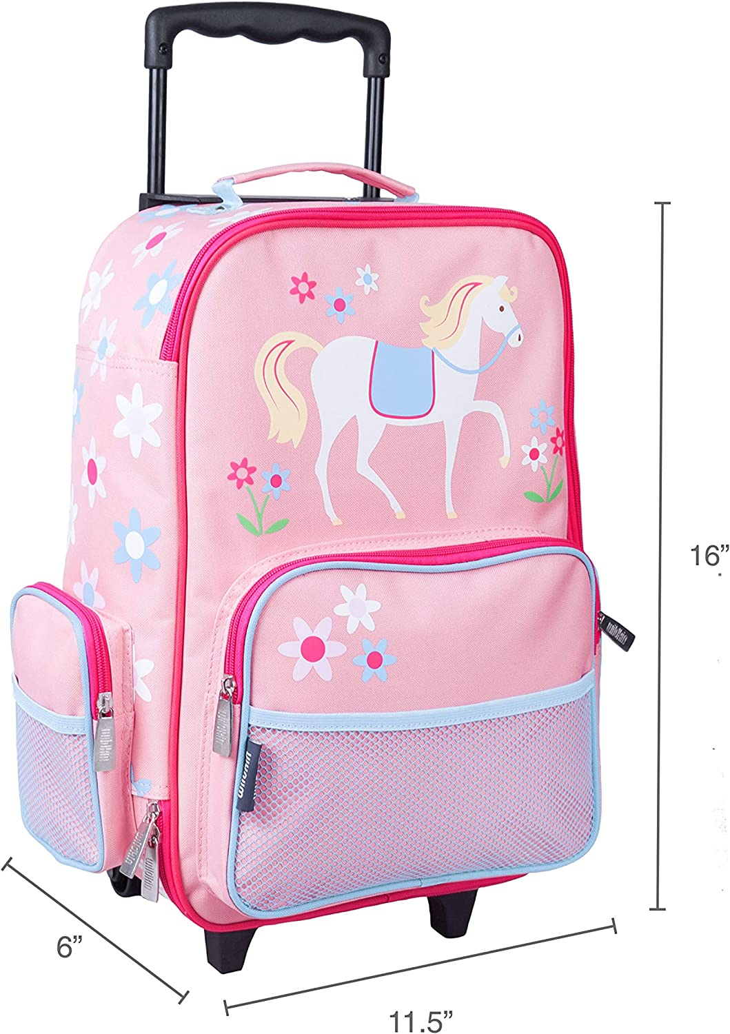 Wildkin Kids Rolling Suitcase for Boys and Girls Olive Kids Heroes BPA-free Kids Luggage is Carry-On Size and Perfect for School and Overnight Travel Measures 16 x 11.5 x 6 Inches