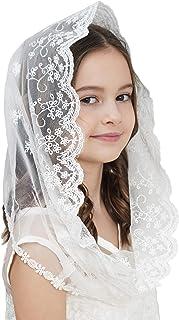 Flowergirl Lace Veil Floret Edge First-Communion-Veils Lace Headwrap For Girls F07