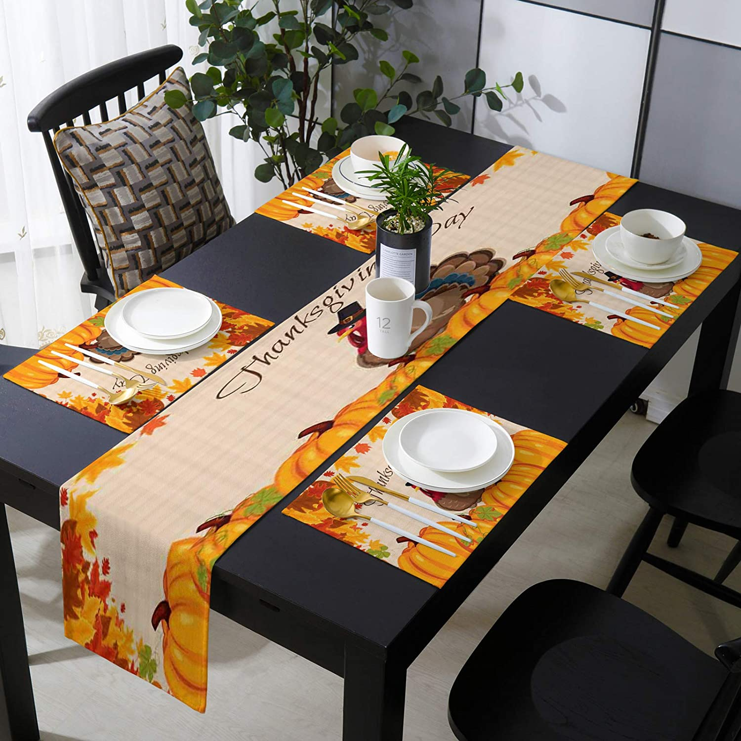 NEW before selling ☆ Kitchen Table Runner and Popular brand in the world Placemats 13x70inches Burlap Linen Farm