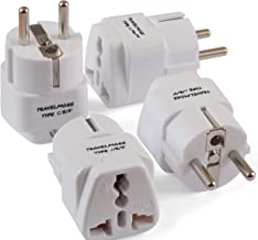 4 Pack European Travel Adapter Plug for European Outlets - Type C, Type E, Type F - Europe Plug Adapter Works in France, Spain, Italy, Germany, Netherlands, Belgium, Poland, Russia & More