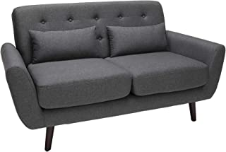 OFM 161 Collection Mid Century Modern Tufted Fabric Loveseat Sofa with Lumbar Support Pillows, Walnut Legs, in Dark Gray (161-FLS2-DGRY)