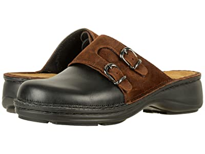 Naot Leilani (Black Raven Leather/Seal Brown Suede) Women