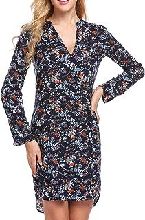 Women Long Sleeve Floral A-Line Knee Length Casual T Shirt Dress S-XXL