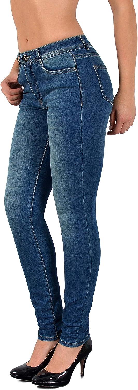 ESRA Damen Jeanshosen Jeans Hose Damen Skinny Stretch Damenjeans High Waist bis Übergröße S100 J64
