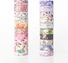 Floral Washi Tape Set, 20 Rolls 0.6 inches, Decorative Masking Tape for Scrapbooking, DIY Arts and Crafts, Bullet Journal,...