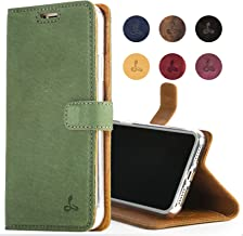 Snakehive Apple iPhone Xs Max Case, Luxury Genuine Leather Wallet with Viewing Stand and Card Slots, Flip Cover Gift Boxed and Handmade in Europe for Apple iPhone Xs MAX - (Dark Green)