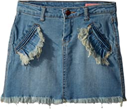 Denim Mini Skirt with Ruffle Pocket Detail in Go All Out (Big Kids)