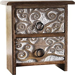 Artesia Wooden Handcrafted Floral Design Jewelry Box Organizer with Drawers