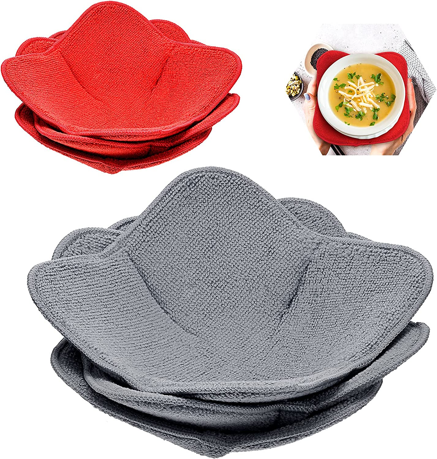 6 Pieces 2 Sizes Microwave Bowl Huggers Sponge and Microfiber Small Bowls Holder Large Bowls for Bowl Potholders Food Huggers Food Warmer Home Kitchen and Hot Bowl Holder