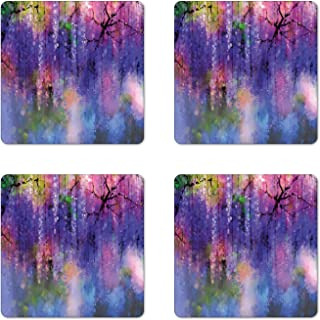 Lunarable Flower Coaster Set of 4, Misty Vogue Wisteria Back Tree Branches Defocus Mysterious Scenes from Nature Print, Square Hardboard Gloss Coasters for Drinks, Violet Pink